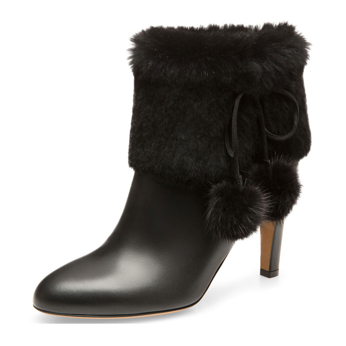 Designer Winter Snow Genuine Leather Wiht Fur Women Heel Short Boot BT1922